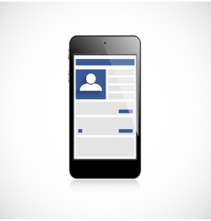 Screen mobile phone with social network app vector image