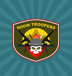 War emblem military logo skull wearing a helmet vector