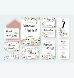 wedding invitation invite flower invite card vector image vector image