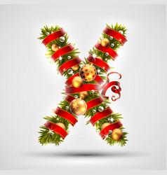 christmas font letter x of christmas tree vector image