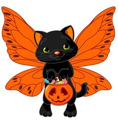 Cute Halloween cat vector image vector image