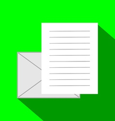 Email Icon Envelope and Paper Sheet with Text in vector image vector image