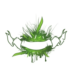 Green Leaf Ribbon Design vector image vector image