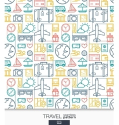 Travel wallpaper Trip connected seamless pattern vector image vector image