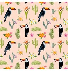 Tropical Background Toucan Bird Cactus vector image vector image