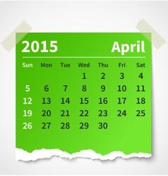 Calendar april 2015 colorful torn paper vector image vector image