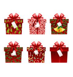 christmas gift icons vector image vector image