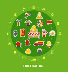 firefighting flat concept vector image vector image