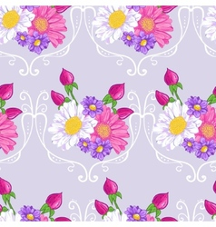 Floral background with white and pink daisy vector image