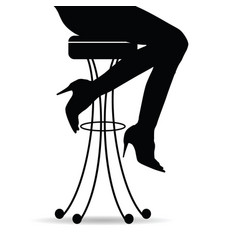 girl silhouette sitting on bar stools vector image