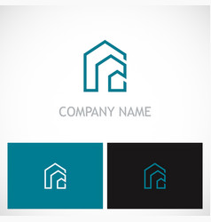 line building house logo vector image vector image
