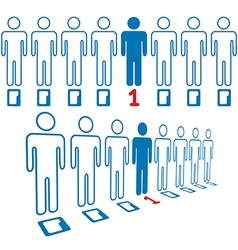 Person stands out line of digital people vector image vector image