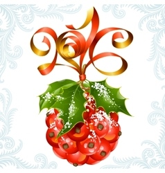 ribbon in the shape of 2016 and holly ball vector image vector image