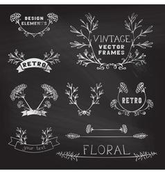 Set of chalk floral design elements vector image vector image