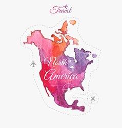 Travel around the world North America Watercolor vector image