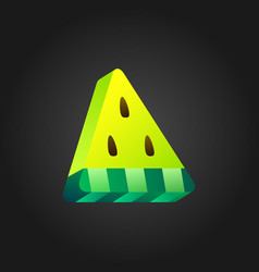 3d yellow stylized watermelon icon on black vector image