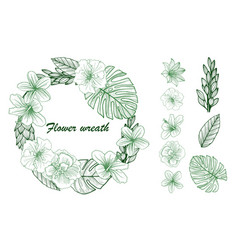 a beautiful wreath with beautiful floral leaves in vector image