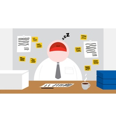 A worker sleeping in his office room vector