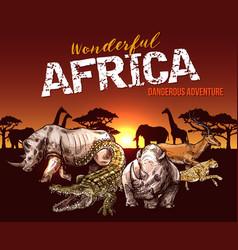 African safari animals and reptile sketch vector