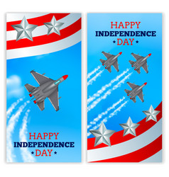 Airplanes independence day banners realistic vector