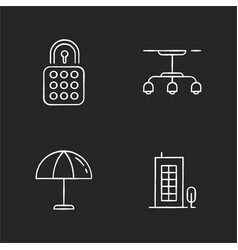 Apartment chalk white icons set on black vector