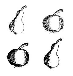 apple and pear hand drawn doodle icons eps10 vector image