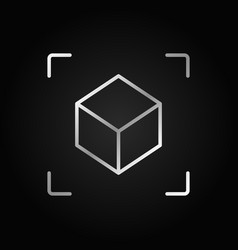 Ar cube linear silver icon augmented vector