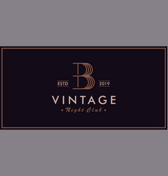 b vintage logo night club vector image