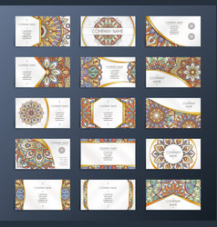 Banners or visit cards with mandala decoration on vector