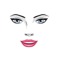 beautiful young woman smiling face with red lips vector image