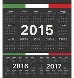 Black Italian circle calendars 2015 2016 2017 vector