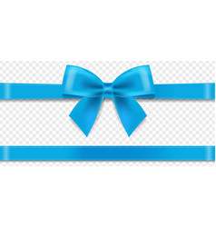 Blue silk ribbon and bow transparent background vector