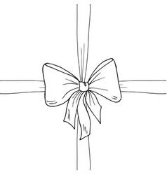 bow ribbon sketch vector image
