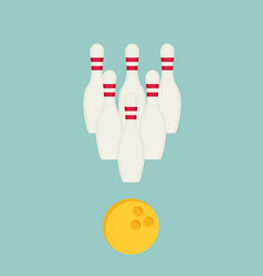 bowling ball and pins isolated on background vector image