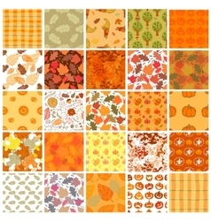 Bundle of Seamless autumn backgrounds vector image