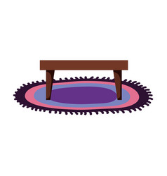 Carpet with table wooden vector