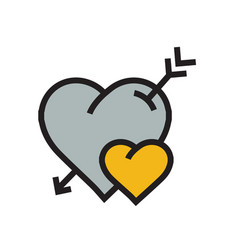 Cartoon heart arrow icon yellow color vector