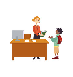 cartoon librarian giving book to child - little vector image