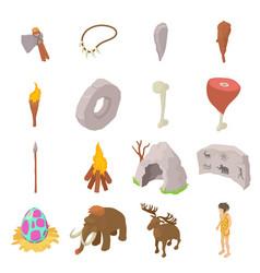 Cavemen human icons set isometric style vector