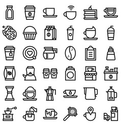 Coffee related icon set line stye vector