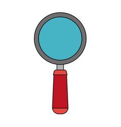 Color image cartoon magnifying glass with red vector