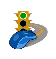Computer Mouse with Traffic Light vector