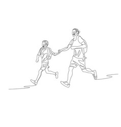 continuous line father and son running together vector image