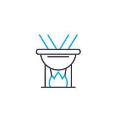 cooking on fire linear icon concept cooking on vector image