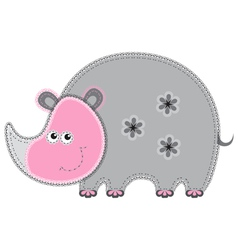 cute cartoon isolated fabric animal rhino vector image