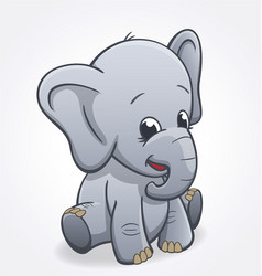 cute elephant infant sitting and smiling baby vector image