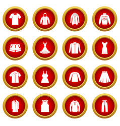 Different clothes icon red circle set vector