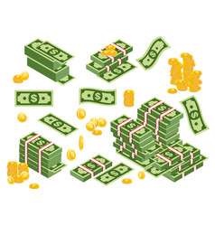 Dollars bundles scattered vector