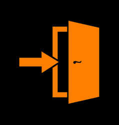door exit sign orange icon on black background vector image
