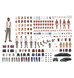 elegant african american guy creation set or diy vector image